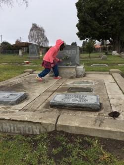 Liza at Steinbeck grave1.jpg